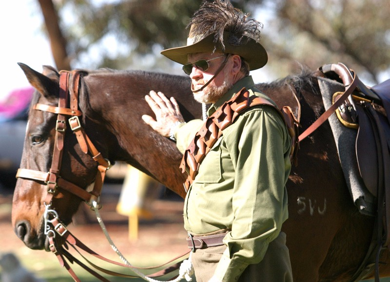 Ken Ball and Brody in 10th Light Horse regalia. 250406kalanzac2[ks]